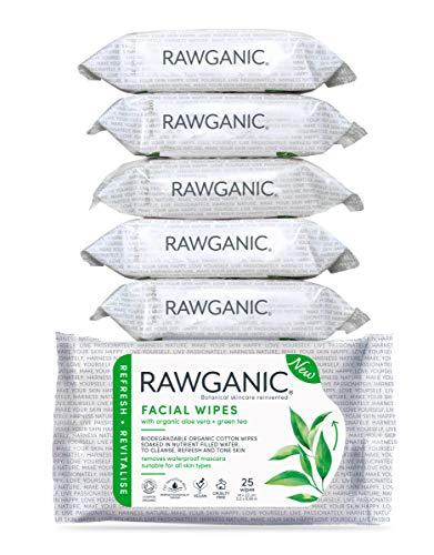 RAWGANIC Lingettes Démaquillantes Bio | Visage, Yeux, Lèvres | Coton Bio Biodégradable | Aloe Vera Thé Vert | Sans parfum (Lot de 6 paquets (150 lingettes))