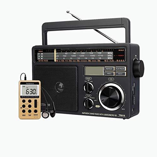 Retekess TR618 Portable AM FM SW Radio, Compact Tabletop Radio, Powered by AC or D Battery, and V112 Digital AM FM Radio, Walkman Pocket Radio Bundle