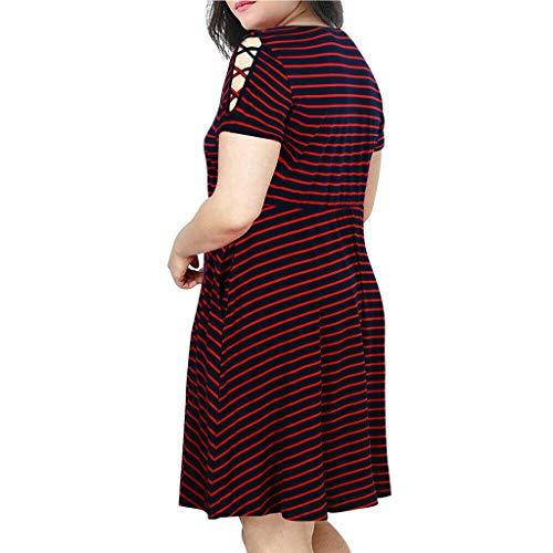 Routinfly Vestido de mujer, vestido de camisa, bodycon, vestido informal para fiestas, de verano, tallas grandes, cuello redondo, manga corta, a rayas, hombros al frío