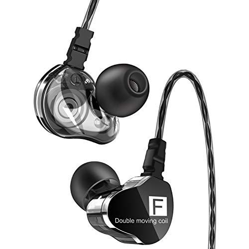【令和進化版】 イヤホン 有線 カナル型 高音質 イヤフォン 遮音性 ステレオイヤフォン 重低音 デュアルドライバー マイク内蔵 通話可 音漏れ防止 リモコン付き 3.5 mm iPhone/iPad/PC/Android対応 (ブラック)