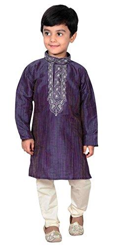 Niños Indios Bollywood Ropa de Moda niños Kurta Pijama Sherwani Pijama 918 (4 años, Azul Marino)