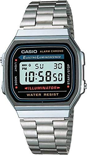 Casio A158WA-1DF - Reloj digital de cuarzo para hombre con correa de metal, color plateado