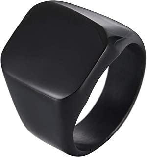 Fashion Stainless Steel Men Ring Black Polished Size 8
