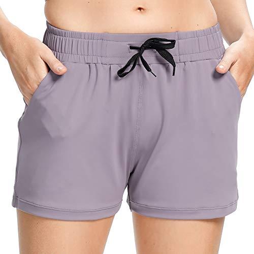 Mesily Women's Workout Hiking Shorts Elastic Waist Lounge Running Travel Active Short Lavender