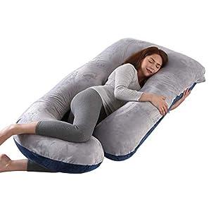 Mingfuxin Almohada de embarazo, con forma de J, con funda de terciopelo 100% algodón lavable para espalda de mujeres embarazadas, caderas, piernas, dormir y alimentar