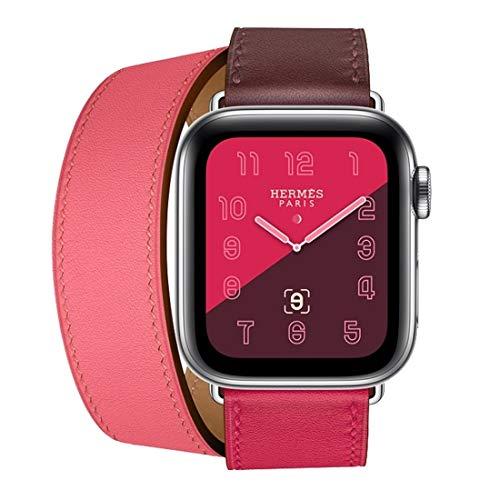 Dfch - Cinturino da polso in pelle a doppio anello per Apple Watch serie 3 & 2 & 1 38 mm, colore: rosa ciliegia+bianco rosa+argilla ceramica