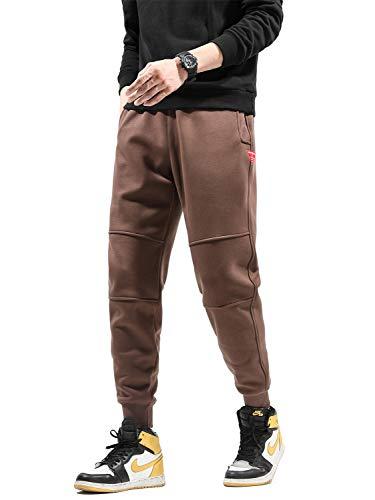 メンズ ジョガーパンツ 裏起毛 厚手 暖パン 防寒 暖かい テーパード 大きいサイズ 冬服 S~3XL (ブラウン, S)