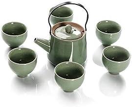 FACAIA 7-częściowy japoński azjatycki ceramiczny zielony Deluxe, 1 dzbanek do herbaty 6 filiżanek - przenośny czajnik podr...