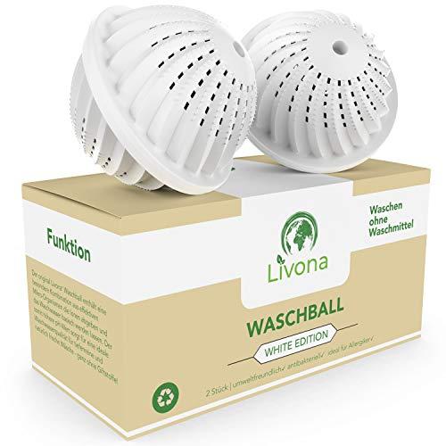 2 x Livona® Waschball White Edition - Öko Waschkugel - Waschen ohne Waschmittel - nachhaltig & umweltfreundlich - höchste Qualität für Allergiker, Kinder und Umweltbewusste (Vorteilspack)