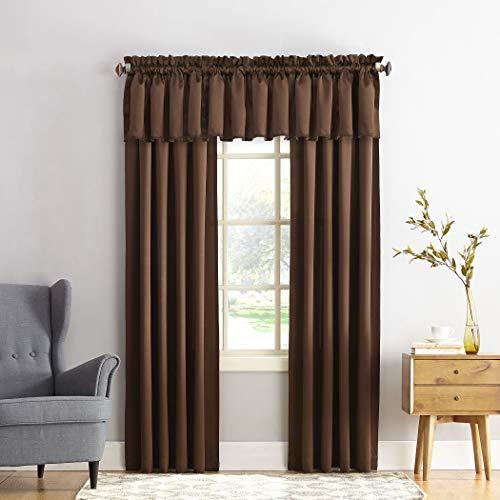 "Sun Zero Barrow Energy Efficient Rod Pocket Curtain Panel, 54"" x 84"", Chocolate Brown, One Panel"