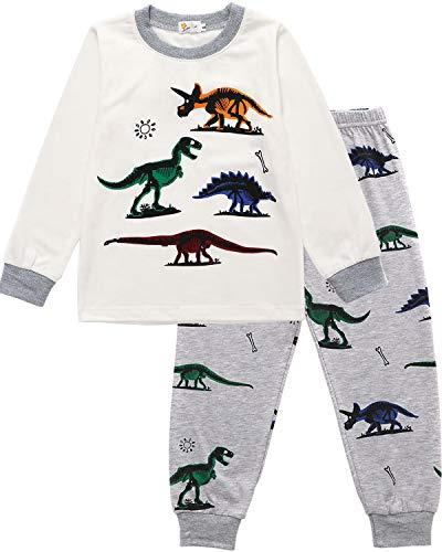 EULLA Jungen Schlafanzug Lang Kinder Pyjama Baumwolle Nachtwäsche, A-weiß, EU 116(5-6Jahre)=Tag 130