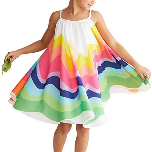 Toddler Baby Girl Summer Boho Rainbow Stripe Spaghetti Strap Beach Sun Dress Rainbow 3 4T product image