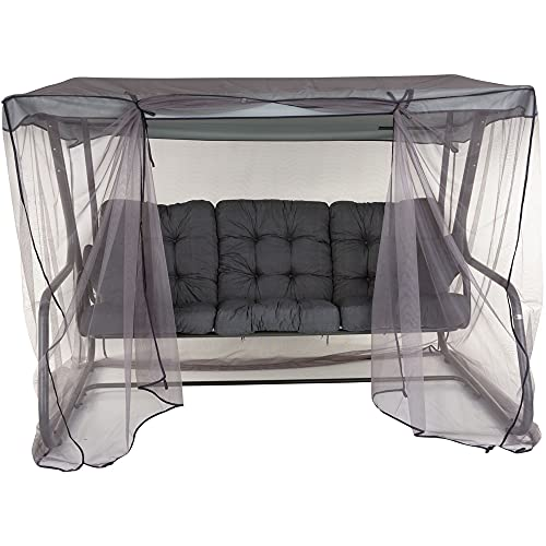 PATIO 3-Sitzer Hollywoodschaukel Celebes Plus 170 cm Gartenschaukel Sitzpolster Sonnendach Moskitonetz Seitentische Klappbar Liegefunktion