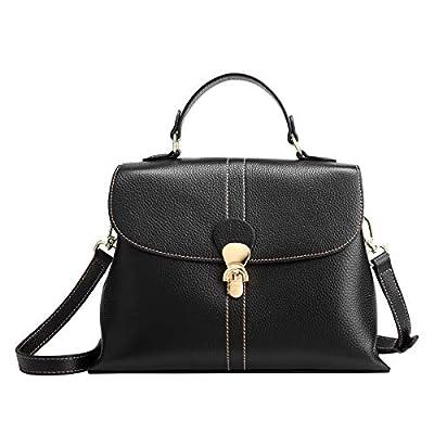 Leather Crossbody Bags for Women, Genuine Leather Ladies Designer Top-handle Bag with Adjustable Shoulder Strap Women's Soft Leather Satchel Handbags Girls Casual Messenger Purses and Handbags (Black)