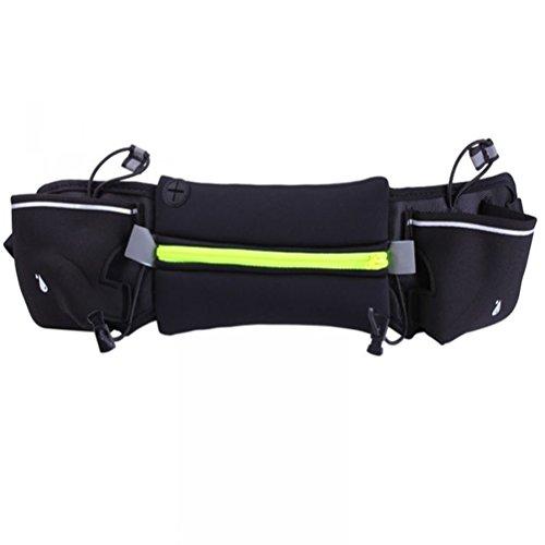 WINOMO sac de taille courroie de course Ceinture d'hydratation extérieur convient pour 4-6 pouces téléphone pour la marche fitness vélo marche hommes et femmes (vert)
