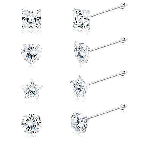 Sllaiss 8Pcs 22G Sterling Silver Nose Rings Studs Tiny 3mm Assorted Shapes CZ Inlaid Nose Body Piercing Jewelry