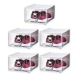 Cabilock 5Pcs Cajas de Zapatos Apilables Porta Zapatos Transparente Organizador de Zapatos a Prueba de Polvo para El Dormitorio Casero (31. 5 * 21. 5 * 13. 5Cm Blanco)