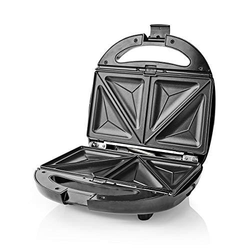 Nedis - Sandwichera Multiusos - Sándwich/Gofre/Grill - 800 W - Fácil de Limpiar - Negro