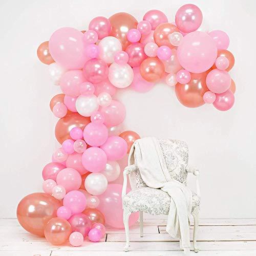 Yiwant Luftballonbogen und Girlande Set - Rosa, Rouge, Roségold und Weiß - Klebepunkte - 43,2 cm...