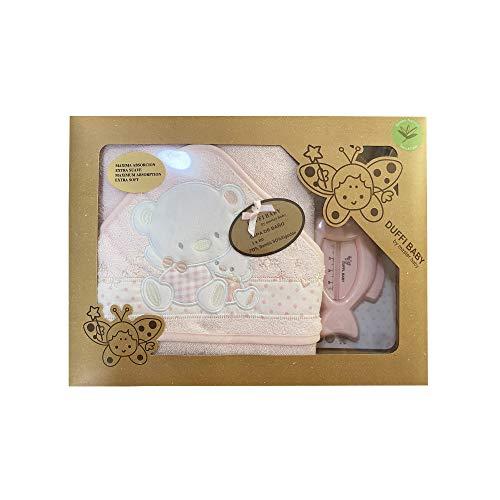 Duffi Baby 0931-06 - Maxicapa de baño bordada 100x100 cm. + termómetro, rosa, niñas