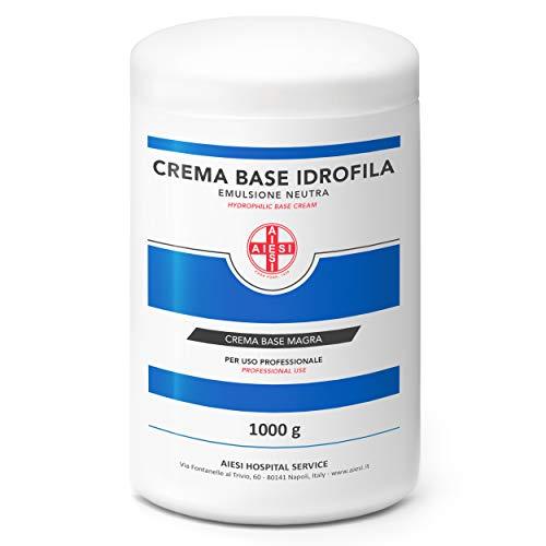 AIESI Crema Base Hidrofílica pura emulsión neutra magra tarro de 1 Kg ideal para uso Farmacéutico Cosmético y Dermatológico # Made in Italy