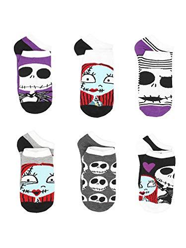 The Nightmare Before Christmas Womens 6 pack Socks (Shoe: 4-10 (Sock: 9-11), Jack Sally Purple)