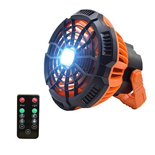Linterna Tienda de campaña luz Ventilador con luz LED Gancho Colgante Portable con Control Remoto para Orange Cubierta al Aire Libre