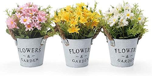 Conjunto de 3 Plantas de Flores de Margaritas Artificiales con Maceta de Metal, Plantas pequeñas Falsas de Interior y Exterior de 11 × 20 cm, Flores Amarillas para la Cocina de la Oficina de la casa