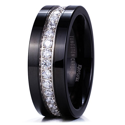 King Will GEM Mens 8mm Black Polished Finish Tungsten Carbide Ring Cubic Zircon Stones Flat Style Wedding Band(11.5)