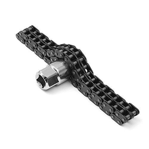 Zunbo Ketten-Ölfilterschlüssel Ölfilter-Kettenschlüssel 44 Abschnittsdoppelter Autoreparatur Maschinenöl L-Schlüssel mit 1/2 Zoll 17mm tiefem Sockel für die meisten Autos