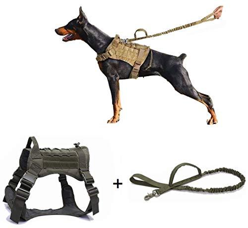 Ducomi Militärisches Brustgeschirr + Leine für Hunde K9, Training und Hunden Arbeit – Hundegeschirr gegen Entflammen, mittelgroß, Deutscher Schäferhund, Pitbull, Rottweiler