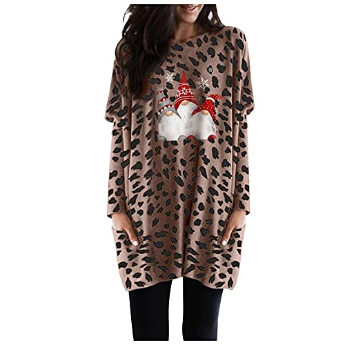 Blusa & Túnica para mujer, manga larga, Navidad, estampado, cuello redondo, con bolsillos, café, S
