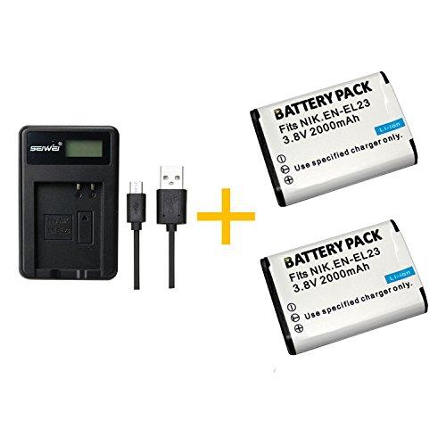 2 Pieza 2000 mAh EN-EL23 ENEL23 Batería con Cargador de batería para cámara Nikon...