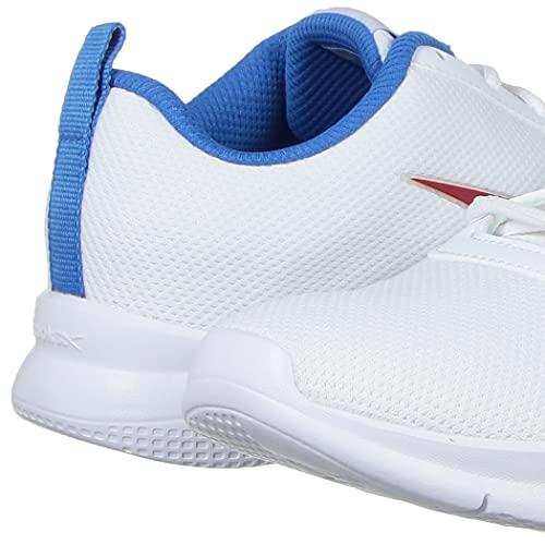 Reebok Men's Stride Runner White-HORIZEN Blue-Mars RED Running Shoe-8 Kids UK (HMP66)