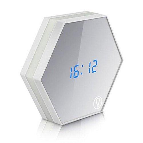 kicheng multifunción LED digital reloj despertador luz nocturna lámpara de mesa de sensor de temperatura termómetro de espejo de pantalla táctil Relojes de viaje