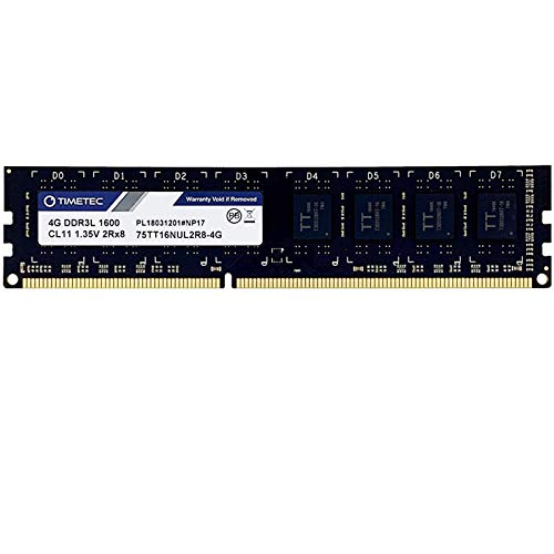 Timetec Hynix IC 4GB DDR3L 1600MHz PC3-12800 Unbuffered Non-ECC 1.35V CL11 2Rx8 Dual Rank 240 Pin UDIMM PC Sobremesa Memoria Principal Module Upgrade (4GB)
