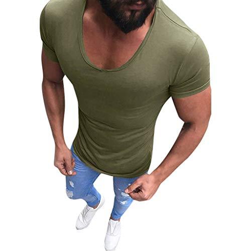 Yowablo Herren Vintage T-Shirt Basic V-Ausschnitt Shirt Oversize Tee Top Casual Kurzarm Slim Muscle Fit Shirts Solide Bluse (XXL,Grün)