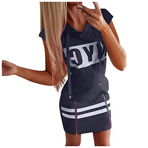 AFFGEQA Sommerkleider Damen Kapuzenkleid Kurzarm Minikleid Etuikleid Tunika Kleid Rundhals Lose Beiläufig Elegant Briefdruck Strandkleider Abendkleid
