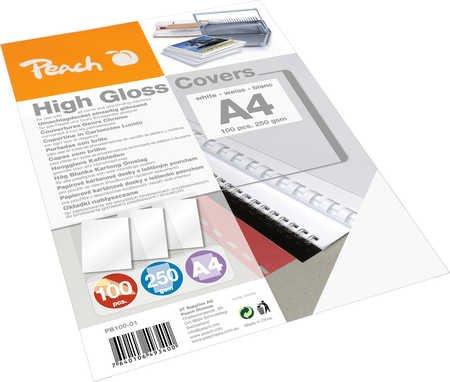 Peach PB100-01 Rückwände Deckblätter A4, 250 g/m², hochglänzend, weiß
