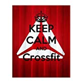 'Keep Calm & Crossfit'- Funny Exercise Sign- 8 x 10' Wall Print- Ready to Frame. Modern Wood Sign Replica Print. Wall Decor Perfect for Home-Office-Gym-Studio. Great Gift for Exercise Addicts.