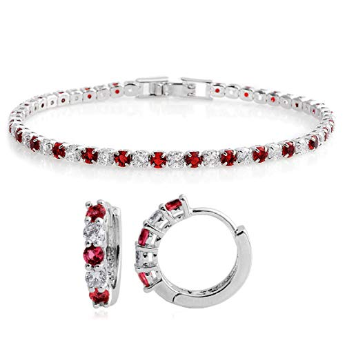 Round Cubic Zirconia CZ Ruby Huggie Earrings Tennis Bracelet 7' Jewelry Set Cttw 9.2