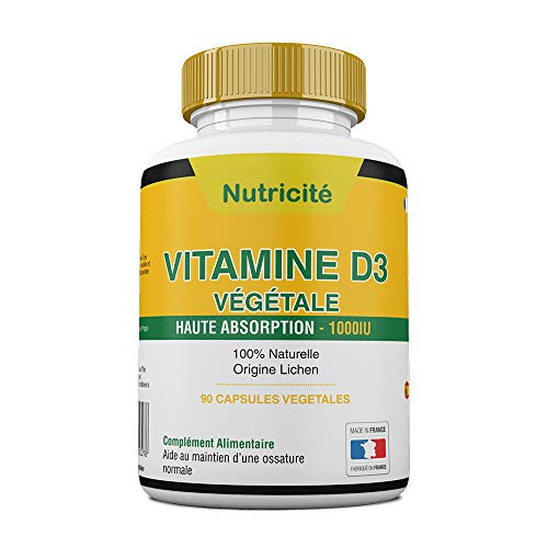 Vitamine d3 1000 ui Fabriquée en France – Soulage les douleurs articulaires et osseuses – Stimule l'energie et le moral – Enfin une vitamine d3 naturelle qui convient au regime vegetarien