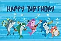 Amxxy 10x7ftビニールお誕生日おめでとう写真背景漫画水中世界サメ家族一緒に音楽を再生写真の背景ベビーシャワー新生児ポートレート写真装飾スタジオ小道具
