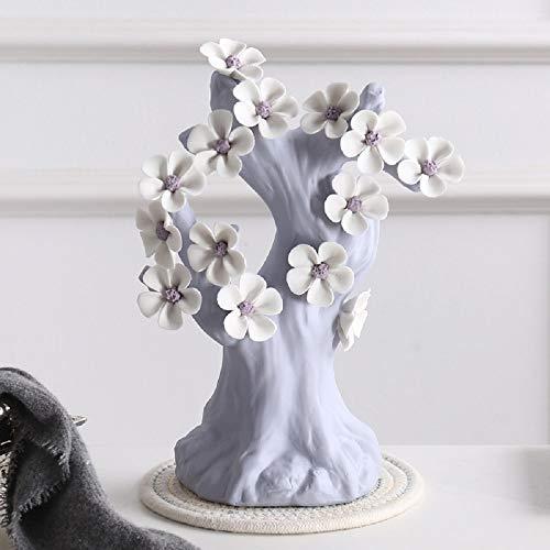 Árbol del Dinero Árbol del Dinero de cerámica for Sala de Estar Cama Balcón Inicio de Regalos Mesa De Oficina En Casa Decoración Feng Shui (Color : Purple, Size : 23x29x12cm)