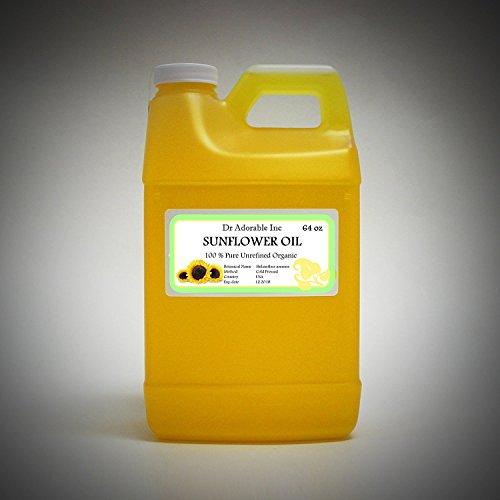 Aceite de girasol sin refinar orgánico alto oleico 100% puro 64 oz / 2 cuartos