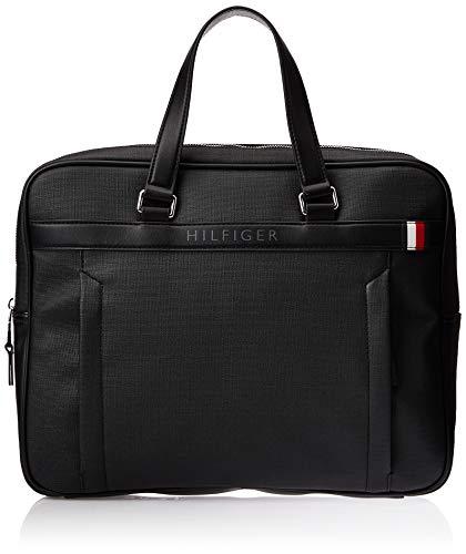 Tommy Hilfiger Herren Coated Canvas Slim Computer Bag Laptop Tasche , Schwarz (Black)