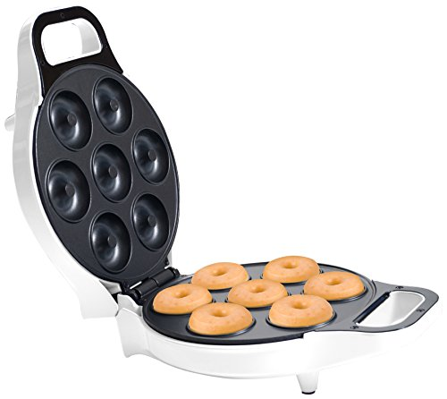 Chef Buddy 82-KIT1066 Mini Donut Maker-Electric Appliance Machine to Mold Little Doughnuts Using Batter/Mix-Bake Chocolate, Glazed, and More Flavors, Normal, White