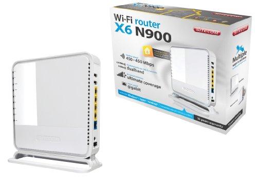 Sitecom WLR-6100 Wi-Fi Gigabit Dualband Router N900 X6, 2X USB, Sitecom Cloud Security, Dlna Support, Bianco