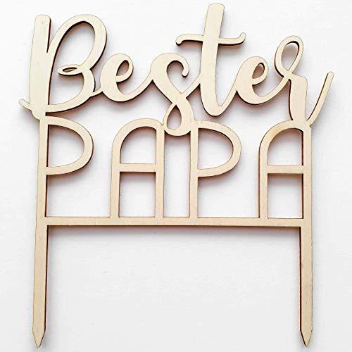 Cake Topper aus Holz: Bester Papa - Tortendekoration Vatertag/Geburtstag Kuchen