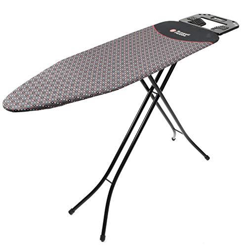Russell Hobbs LA043153BLK Board med jumbo järnstöd, höjdjusterbara ben, halkfria fötter, vadderad med sift touch silikon, järnstöd, 122 x 38 cm, svart, stål